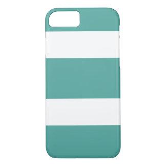 Coque iPhone 8/7 Teal et caisse rayée large blanche de téléphone