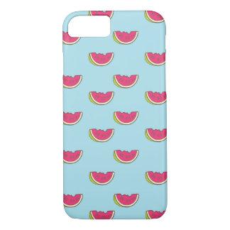 Coque iPhone 8/7 Tranches de pastèque sur le motif turquoise