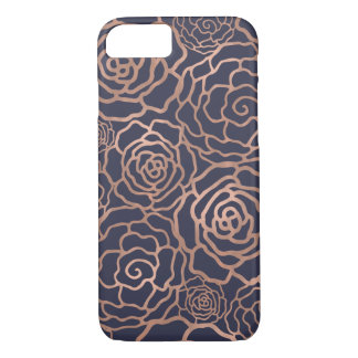 Coque iPhone 8/7 Trellis floral rose de bleu marine d'or et de Faux