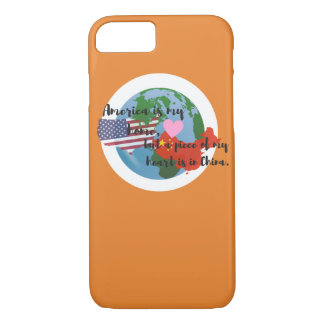 Coque iPhone 8/7 Un morceau de mon coeur est dans l'orange de cas