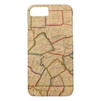Coque iPhone 8/7 Une carte de l'état de la Pennsylvanie