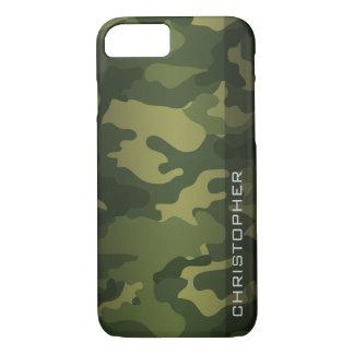 Coque iPhone 8/7 Vert militaire de motif de Camo avec le nom