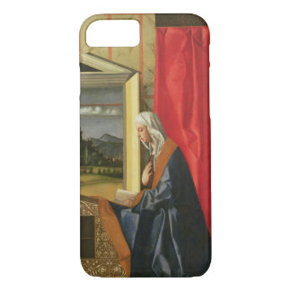 Coque iPhone 8/7 Vierge Marie, du diptyque d'annonce (huile dessus