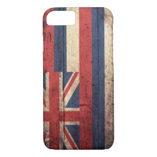 Coque iPhone 8/7 Vieux drapeau en bois d'Hawaï ;