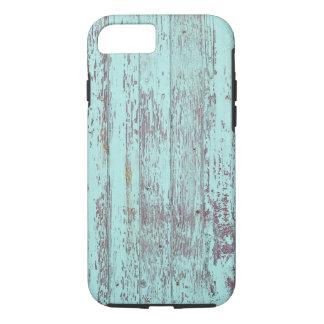 Coque iPhone 8/7 Vieux mur en bois de peinture bleue