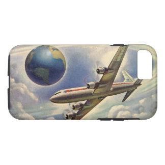 Coque iPhone 8/7 Vol vintage d'avion autour du monde en nuages