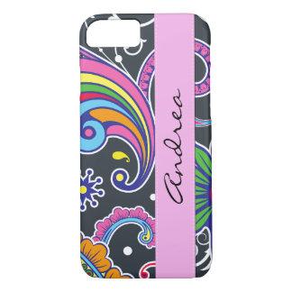 Coque iPhone 8/7 Votre nom - Persan Paisley - bleu rose vert