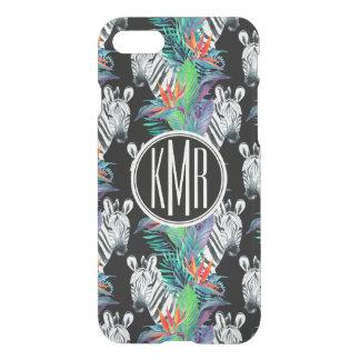 Coque iPhone 8/7 Zèbre et monogramme exotique du motif de fleurs  