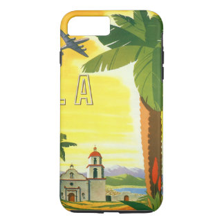 Coque iPhone 8 Plus/7 Plus Affiche vintage de voyage, Los Angeles, la