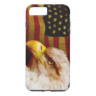 Coque iPhone 8 Plus/7 Plus Aigle chauve avec le drapeau
