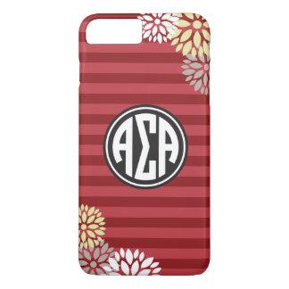 Coque iPhone 8 Plus/7 Plus Alpha motif de rayure de monogramme de l'alpha |