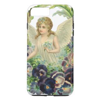 Coque iPhone 8 Plus/7 Plus Ange victorien de Pâques avec les fleurs pourpres