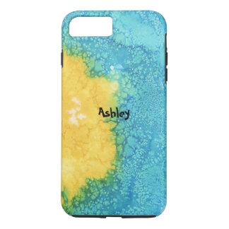 Coque iPhone 8 Plus/7 Plus Aquarelle bleue/jaune
