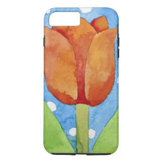 Coque iPhone 8 Plus/7 Plus Arrière - plan blanc bleu 2013 de tache de tulipe