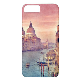 Coque iPhone 8 Plus/7 Plus Art en pastel d'aquarelle de canal vintage chic de