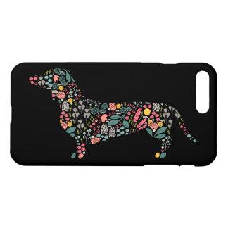 Coque iPhone 8 Plus/7 Plus Art floral d'aquarelle de motif de chien de