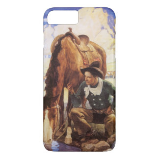 Coque iPhone 8 Plus/7 Plus Art vintage, cowboy arrosant son cheval par OR
