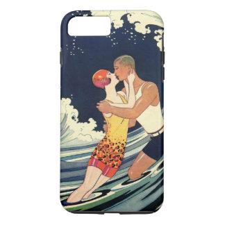 Coque iPhone 8 Plus/7 Plus Baiser vintage d'amants d'art déco dans les vagues
