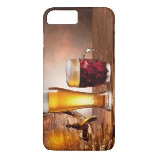Coque iPhone 8 Plus/7 Plus Baril de bière avec des verres de bière sur un