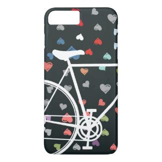 Coque iPhone 8 Plus/7 Plus Bicyclette abstraite de coeurs noirs d'amour