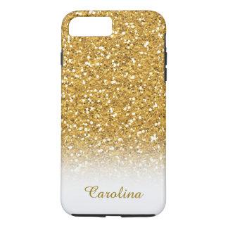 Coque iPhone 8 Plus/7 Plus Blanc et scintillement d'or, personnalisé avec le