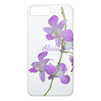 Coque iPhone 8 Plus/7 Plus Blanc pourpre d'orchidée tropicale