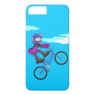 Coque iPhone 8 Plus/7 Plus BMX enfant arrêté dans le siège de sa bicyclette