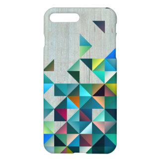 Coque iPhone 8 Plus/7 Plus Bois âgé avec les triangles colorées modernes