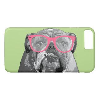 Coque iPhone 8 Plus/7 Plus Bouledogue avec le téléphone drôle mignon 7 en