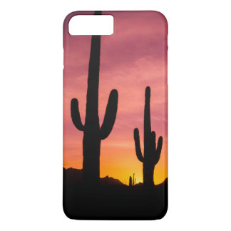 Coque iPhone 8 Plus/7 Plus Cactus de Saguaro au lever de soleil, Arizona