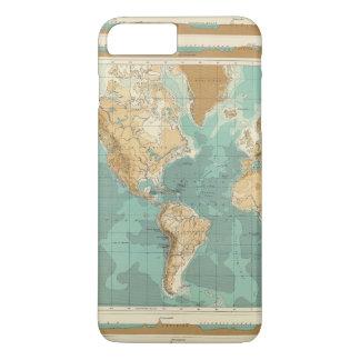 Coque iPhone 8 Plus/7 Plus Carte bathyorographical du monde
