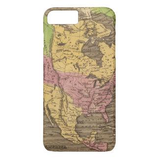 Coque iPhone 8 Plus/7 Plus Carte d'atlas couleur de main de l'Amérique du