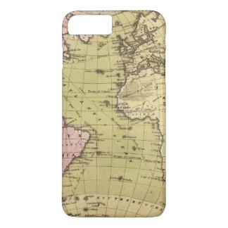 Coque iPhone 8 Plus/7 Plus Carte d'atlas de l'Océan Atlantique