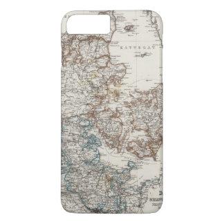 Coque iPhone 8 Plus/7 Plus Carte d'atlas du Danemark avec 5 cartes d'encart