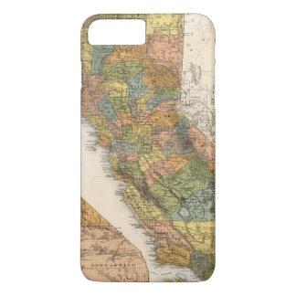 Coque iPhone 8 Plus/7 Plus Carte de la Californie montrant des banlieues