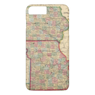 Coque iPhone 8 Plus/7 Plus Carte de l'Iowa, Missouri par Mitchell