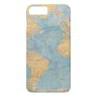 Coque iPhone 8 Plus/7 Plus Carte de l'Océan Atlantique