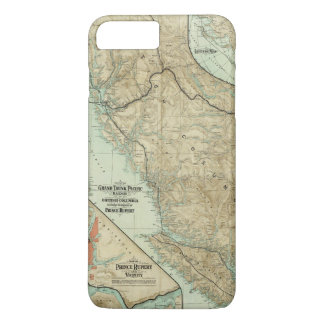 Coque iPhone 8 Plus/7 Plus Carte du chemin de fer grand de Pacifique de tronc