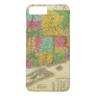 Coque iPhone 8 Plus/7 Plus Carte du Massachusetts et du Connecticut