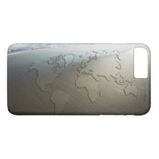 Coque iPhone 8 Plus/7 Plus Carte du monde sur le sable
