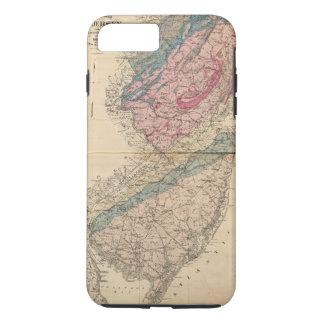 Coque iPhone 8 Plus/7 Plus Carte géologique de New Jersey