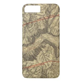 Coque iPhone 8 Plus/7 Plus Carte topographique de la vallée 2 de Yosemite