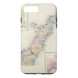 Coque iPhone 8 Plus/7 Plus Cartes du comté de Door, baie d'esturgeon et de
