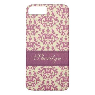 Coque iPhone 8 Plus/7 Plus Cas botanique de nom d'iphone de prune de rose de