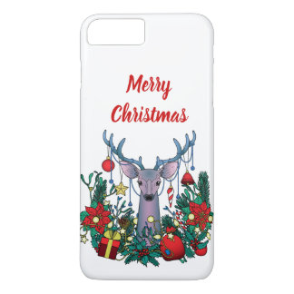 Coque iPhone 8 Plus/7 Plus Cas de Joyeux Noël avec des cerfs communs de Noël