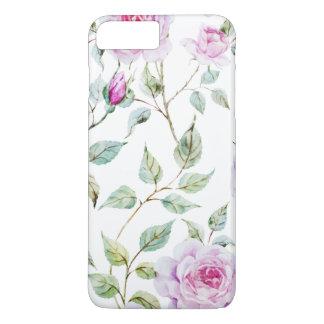 Coque iPhone 8 Plus/7 Plus Cas élégant de téléphone de feuille et de roses |