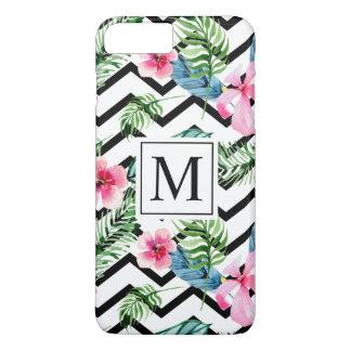 Coque iPhone 8 Plus/7 Plus Cas floral tropical de téléphone du monogramme |