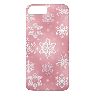 Coque iPhone 8 Plus/7 Plus Cas plus de l'iPhone 7 roses de flocon de neige à