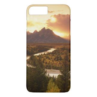 Coque iPhone 8 Plus/7 Plus Chaîne de Teton au coucher du soleil, de la