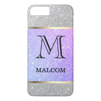 Coque iPhone 8 Plus/7 Plus Charme gris et pourpre de monogramme